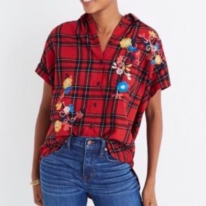 Madewell Central Floral Dahl Plaid Button Down
